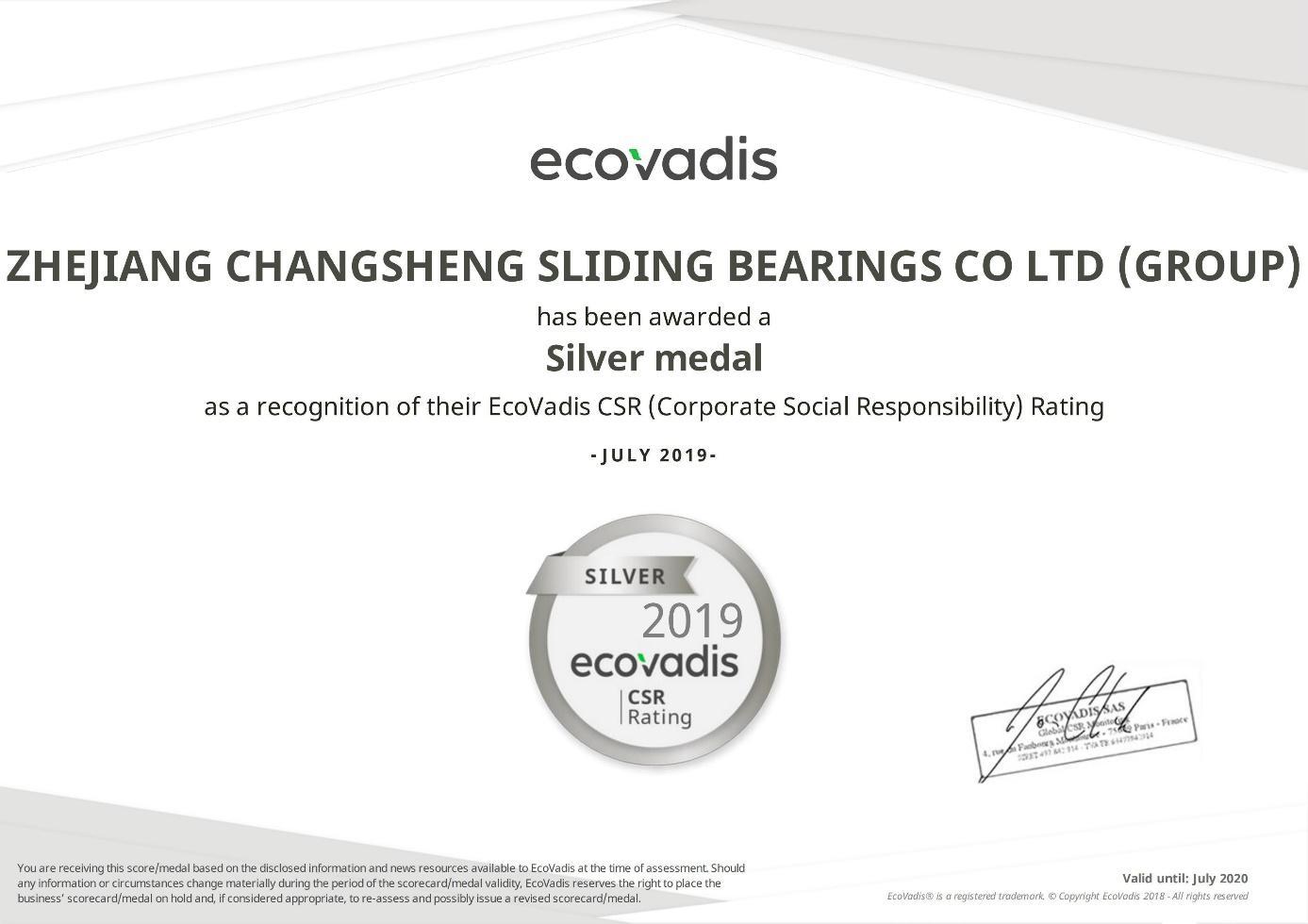Médaille d'argent Ecovadis CSR
